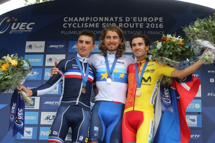 Dani Moreno en el podio con peter Sagan
