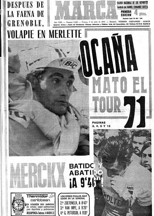 Portada de Marca el día que Ocaña se puso líder en el Tour