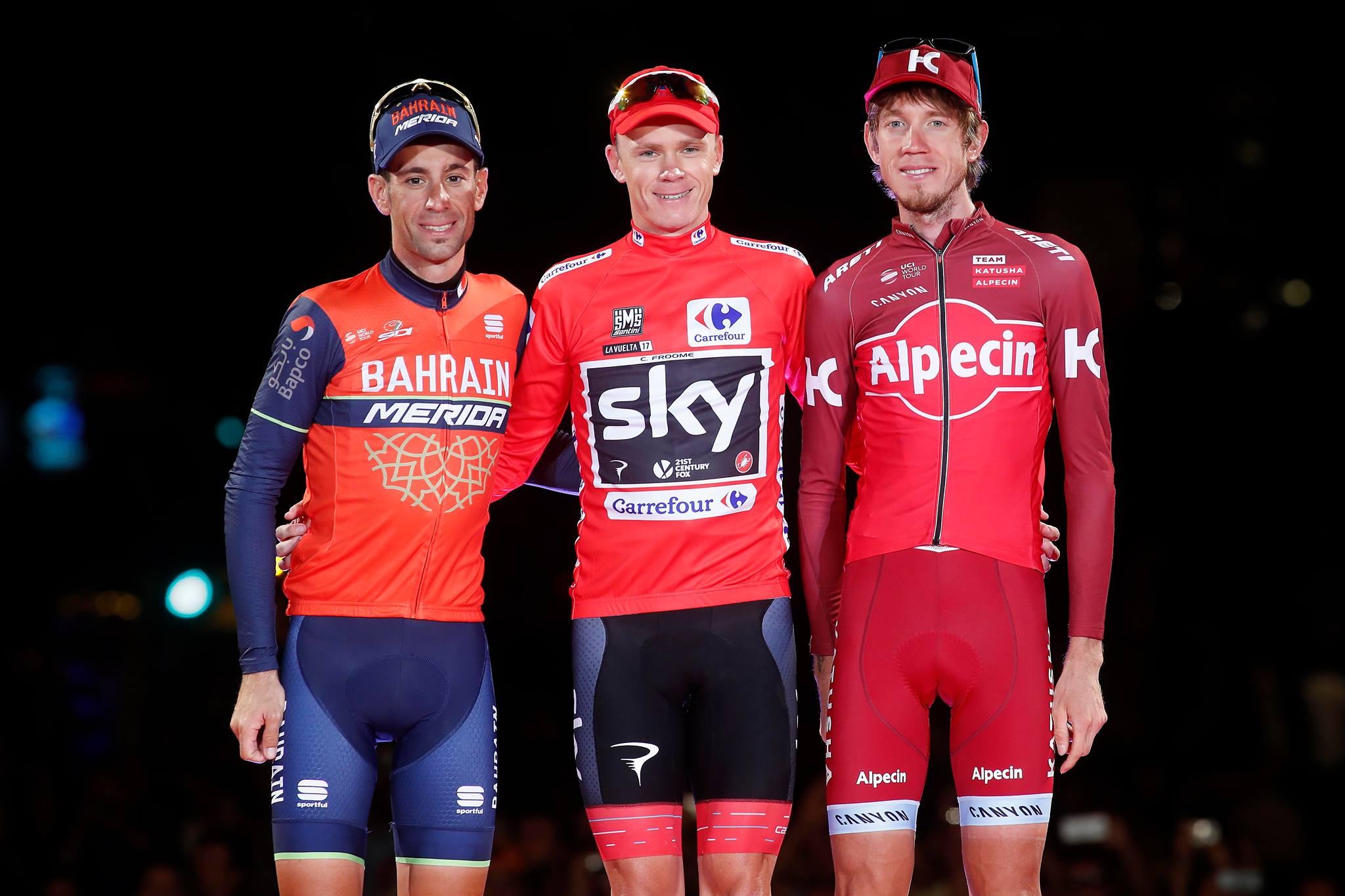Podio de la Vuelta a España con Froome, NIbali y Zakarin