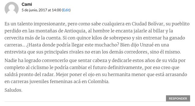 Carlos Betancur comentario JoanSeguidor