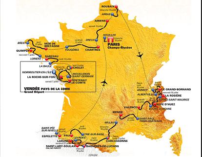 Mapa recorrido de etapas del Tour de Francia
